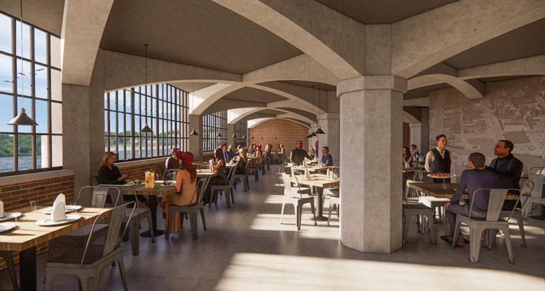 Riverfront Restaurant Rendered