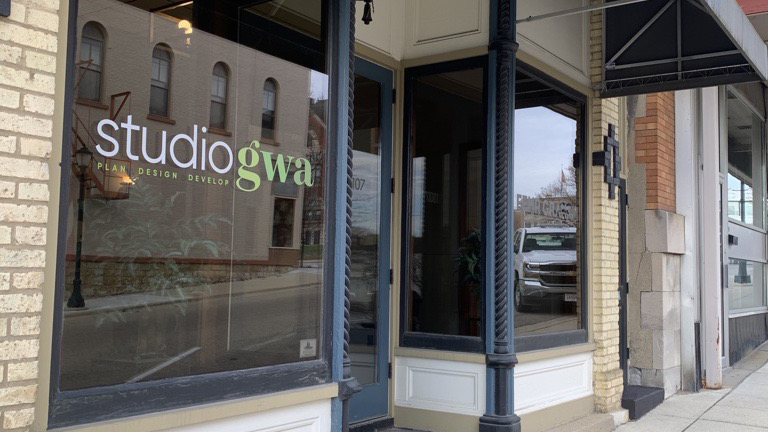 Exterior image of new second location for Studio GWA in Monroe, Wisconsin
