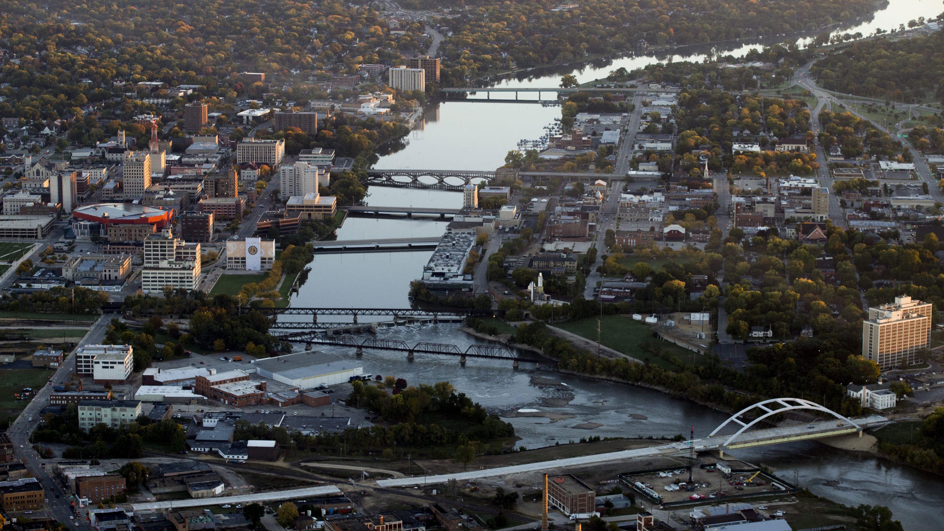Aerial image of downtown Rockford, Illinois, looking north, with view of the Rock River.