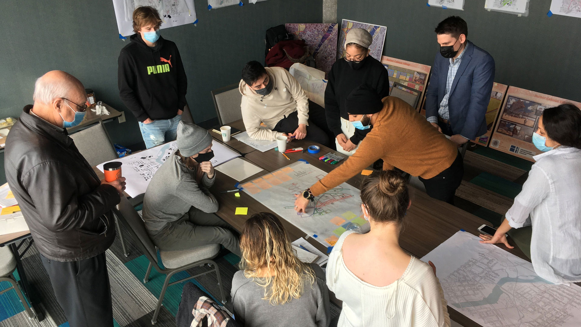Image of Judson University Architecture students with Gary W. Anderson and Aaron Holverson at their design charrette.