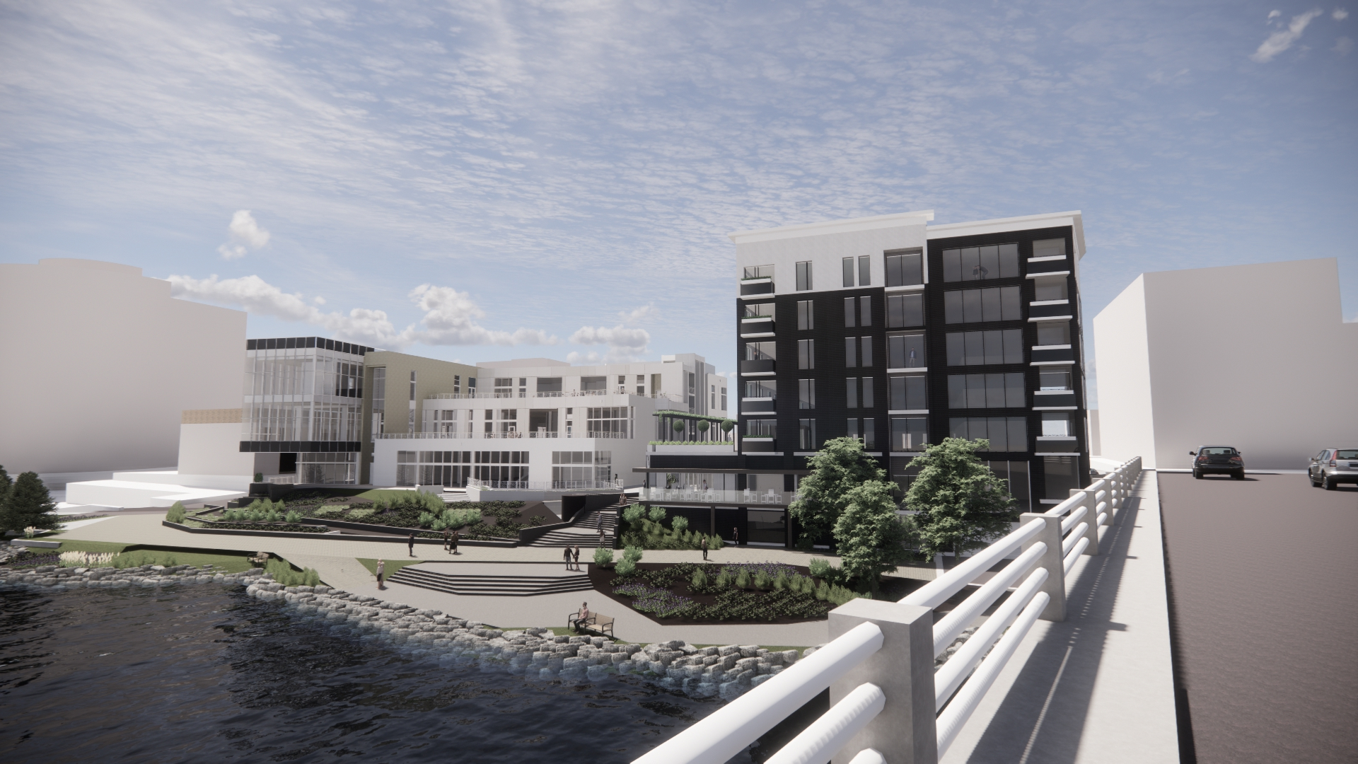 Exterior rendering of Library Lofts Development on the Rock River in downtown Rockford
