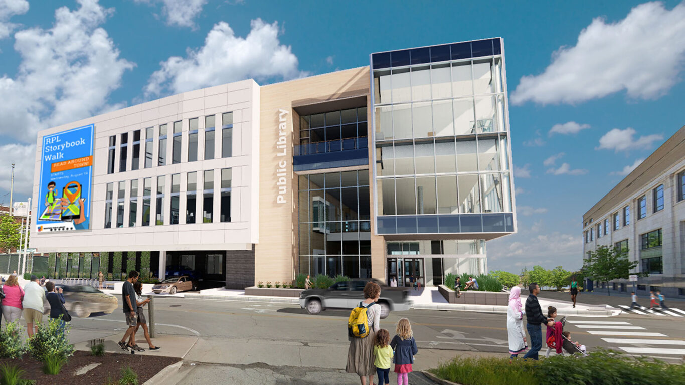 Exterior rendering of Rockford Public Library replacement branch from Wyman Street